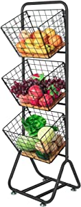 X-cosrack 3-Tier-fruit-Wire-Market-Basket-Stand Kitchen Snack Vegetable Metal baskets Storage Tiered Wire Basket Organizer Free-Standing for Fruit Vegetable Storage Pantry Bathroom (Bamboo)