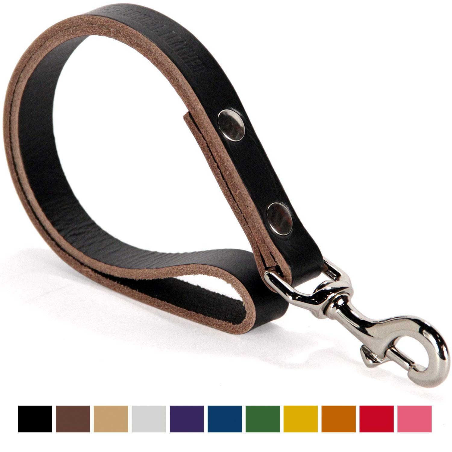 Logical Leather Traffic Lead Best Full Grain Heavy Duty Genuine Short Leather Leash Lifetime Guarantee Black