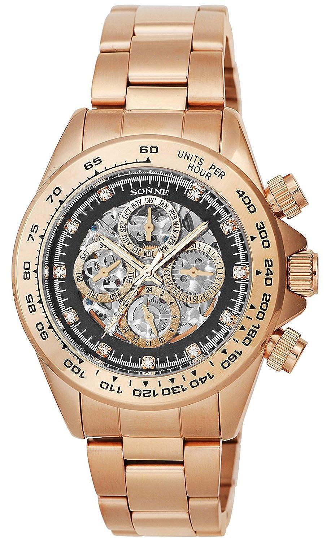 Sonne腕時計s159 Seriesブラックダイヤル自動巻上げs159pgbメンズ B01LPH80M6