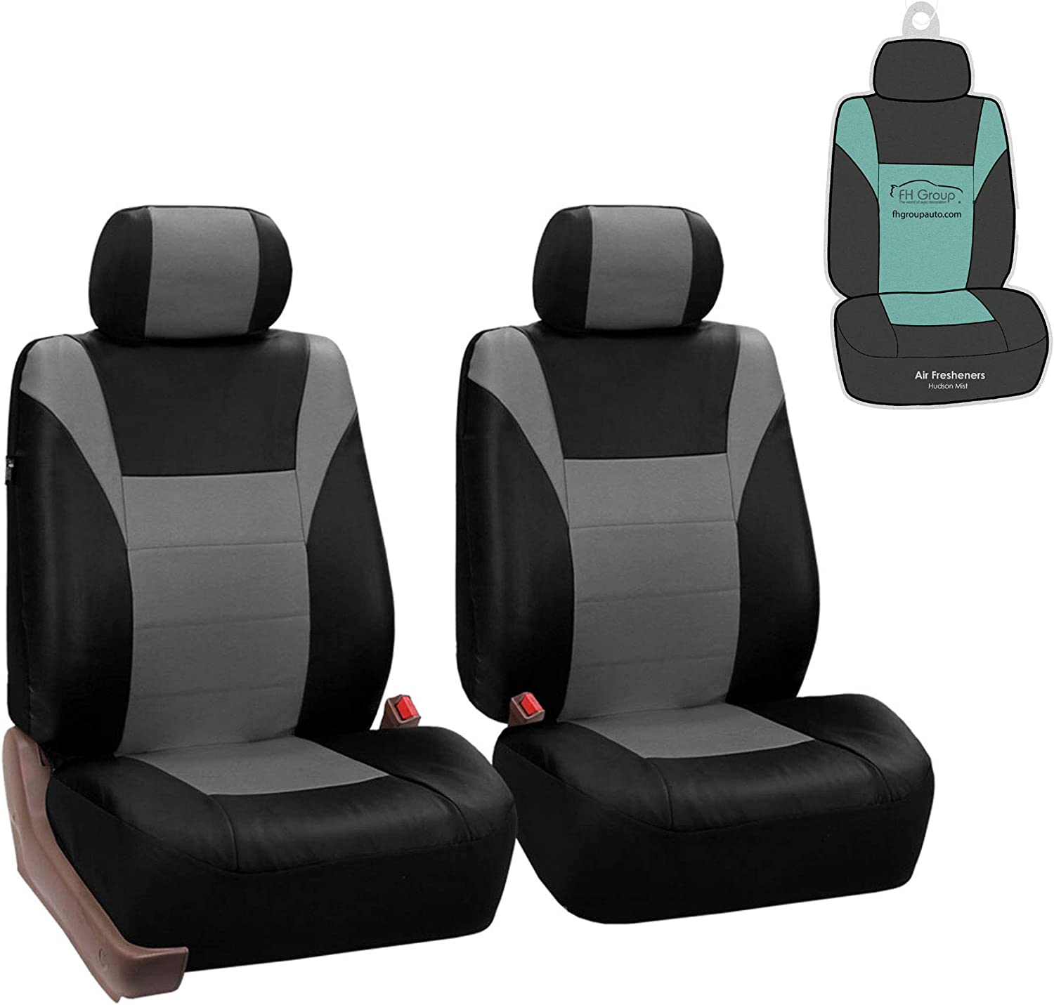 FH GROUP FH-PU003102 Racing PU Leather Car Pair Set Seat Covers (Airbag & Split Ready) Gray/Black Color - Fit Most Car, Truck, SUV, or Van