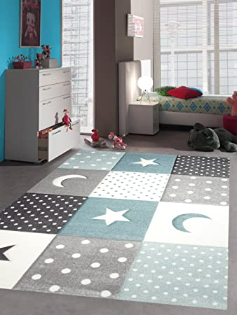 Kinderteppich Teppich Kinderzimmer Babyteppich Stern Mond in Blau Türkis  Grau Creme Größe 120x170 cm