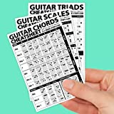 "Guitar Cheatsheets Bundle (Chords, Scales, and Triads Cheatsheet 3 Pack • Laminated Pocket Reference 4""x6"""