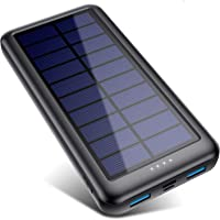 QTshine Cargador Solar con Entradas Tipo C & Mirco USB, Batería Externa Solar 26800mAh Power Bank Solar Carga Rápida con…