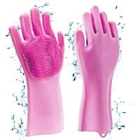 HOMLY Silicone Non-Slip, Dishwashing and Pet Grooming, Magic Latex Scrubbing Gloves for Household Cleaning Great for Protecting Hands (Standard Size, Multicolour)