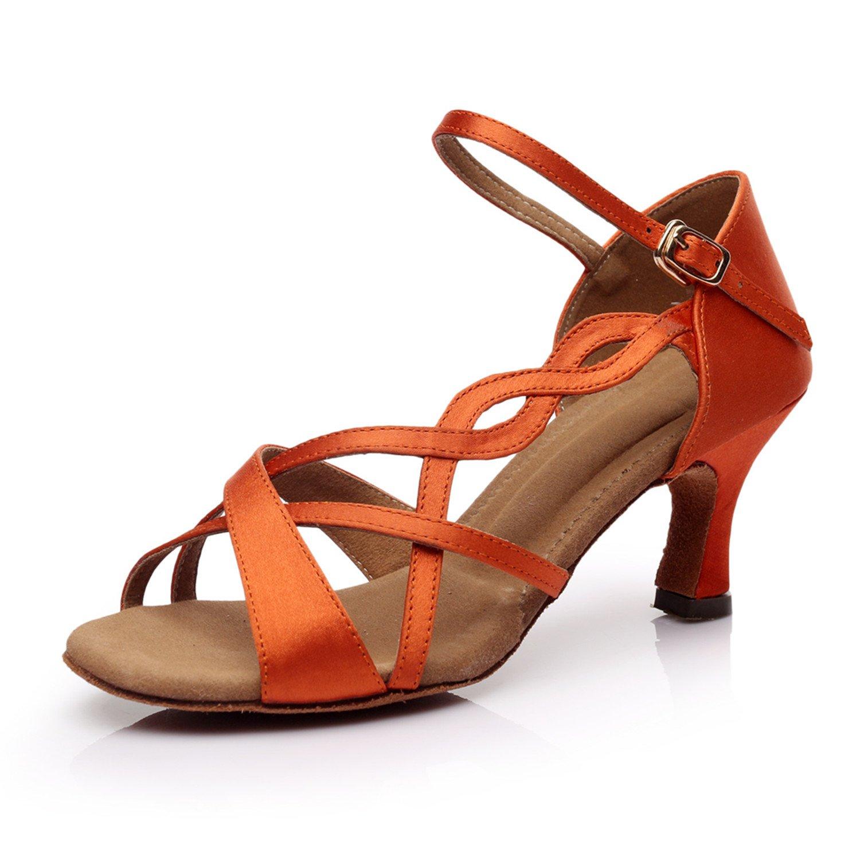 New Women's Girl's Sandals Modern/ Latin Dance Shoes Satin Upper 5.4cm/7cm  Heel Black/Brown/Orange (6.5 UK, Orange 7cm heel): Amazon.co.uk: Shoes &  Bags