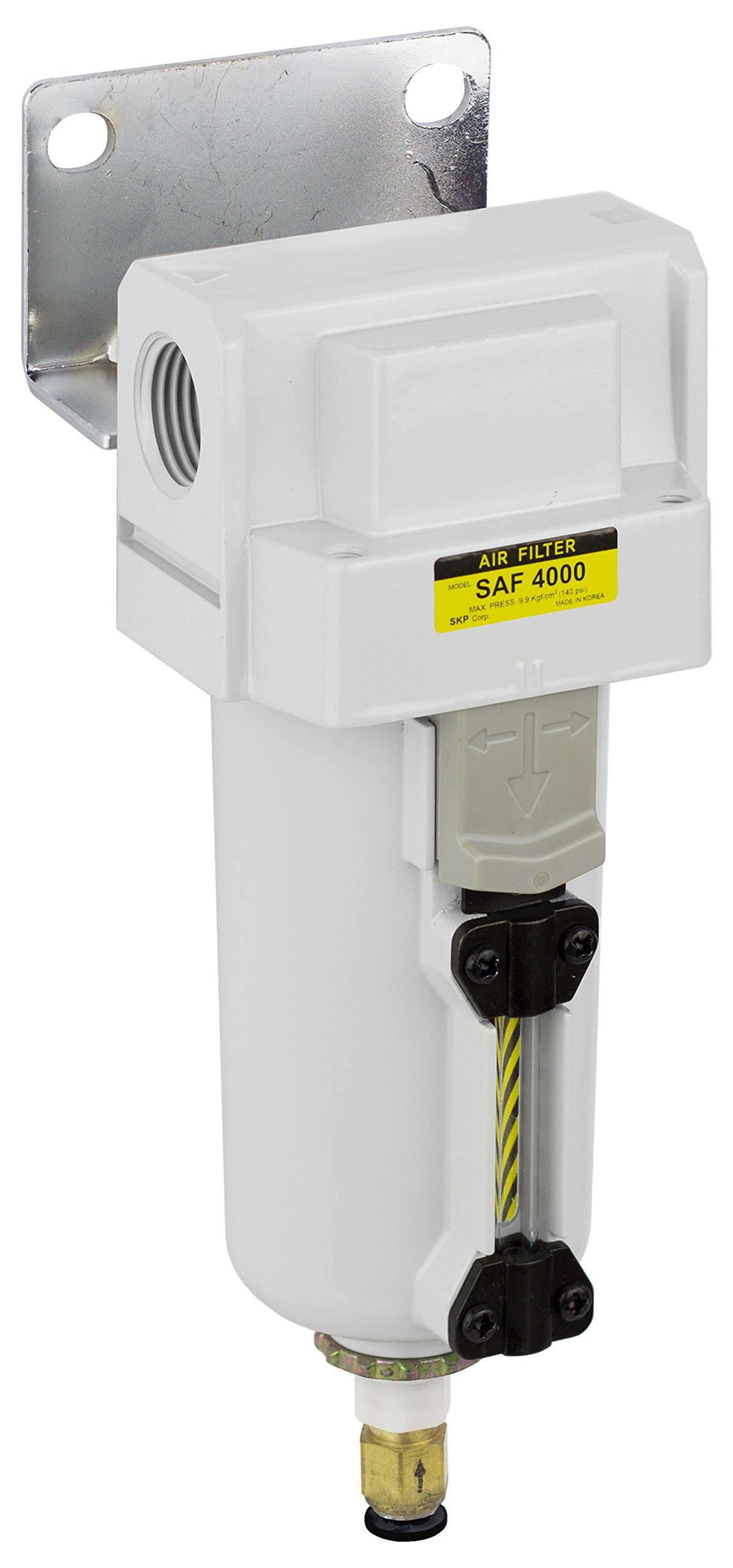 PneumaticPlus SAF4000M-N04BD-MEP Compressed Air Particulate Filter, 1/2'' NPT, Auto Drain, Metal Bowl, 10 μm