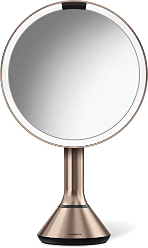 simplehuman Sensor Lighted Makeup Vanity Mirror, 8 Round With Touch-Control Brightness, 5x Magnification, Rose Gold Stainless Steel, Rechargeable And Cordless