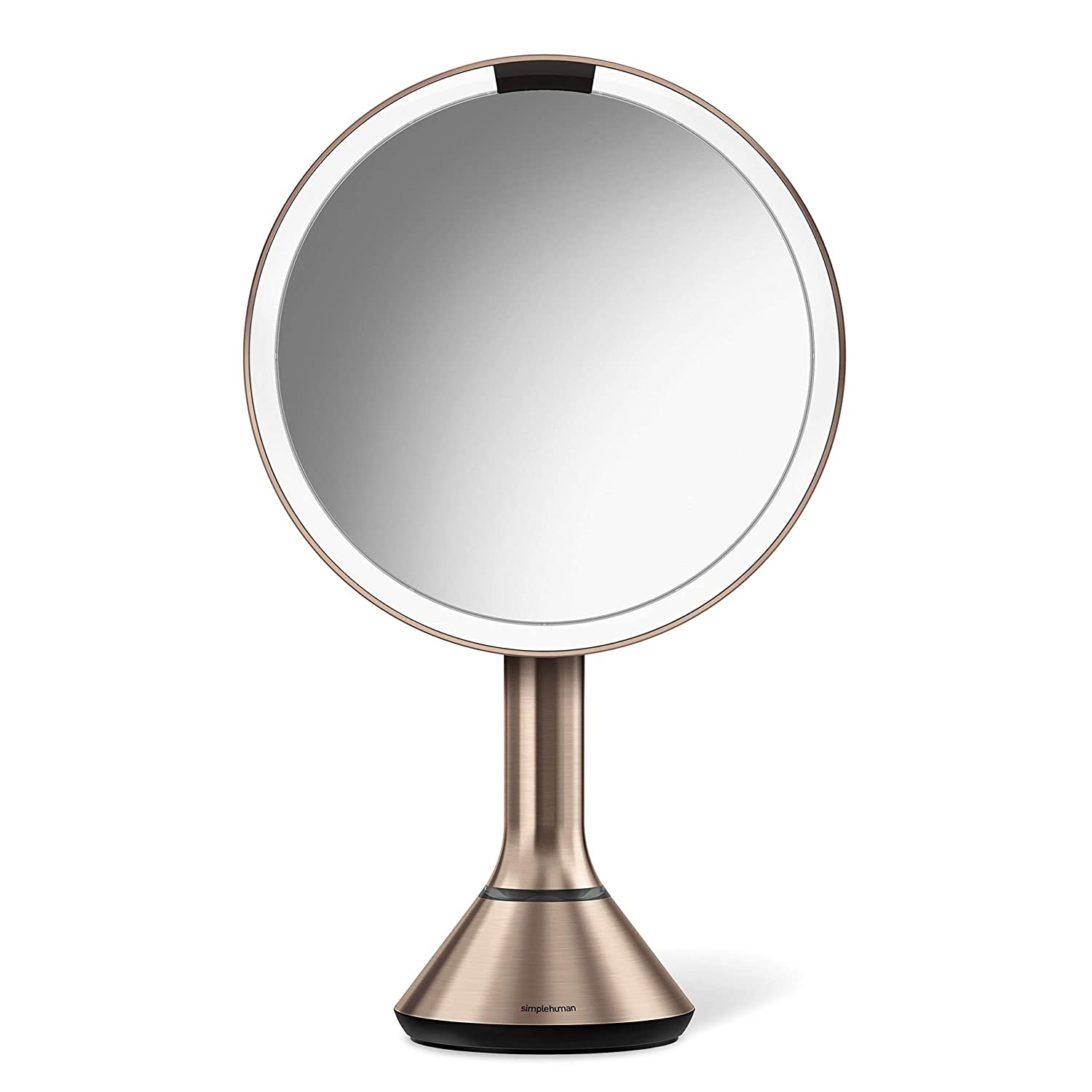 Simplehuman Lighted Makeup Mirror.Simplehuman Sensor Lighted Makeup Vanity Mirror 8 Round With Touch Control Brightness 5x Magnification Rose Gold Stainless Steel Rechargeable And