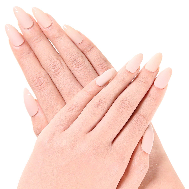 Ejiubas Newest Arrival 24 Pcs Flesh Color Matte with glossy Finish Full  Cover Talone Medium False Nail Tips