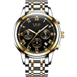 Stainless Steel Band Men Watches Fashion Casual Quartz Business Watch Waterproof 30M with Chronograph and Calendar Sport Military Luminous Watch