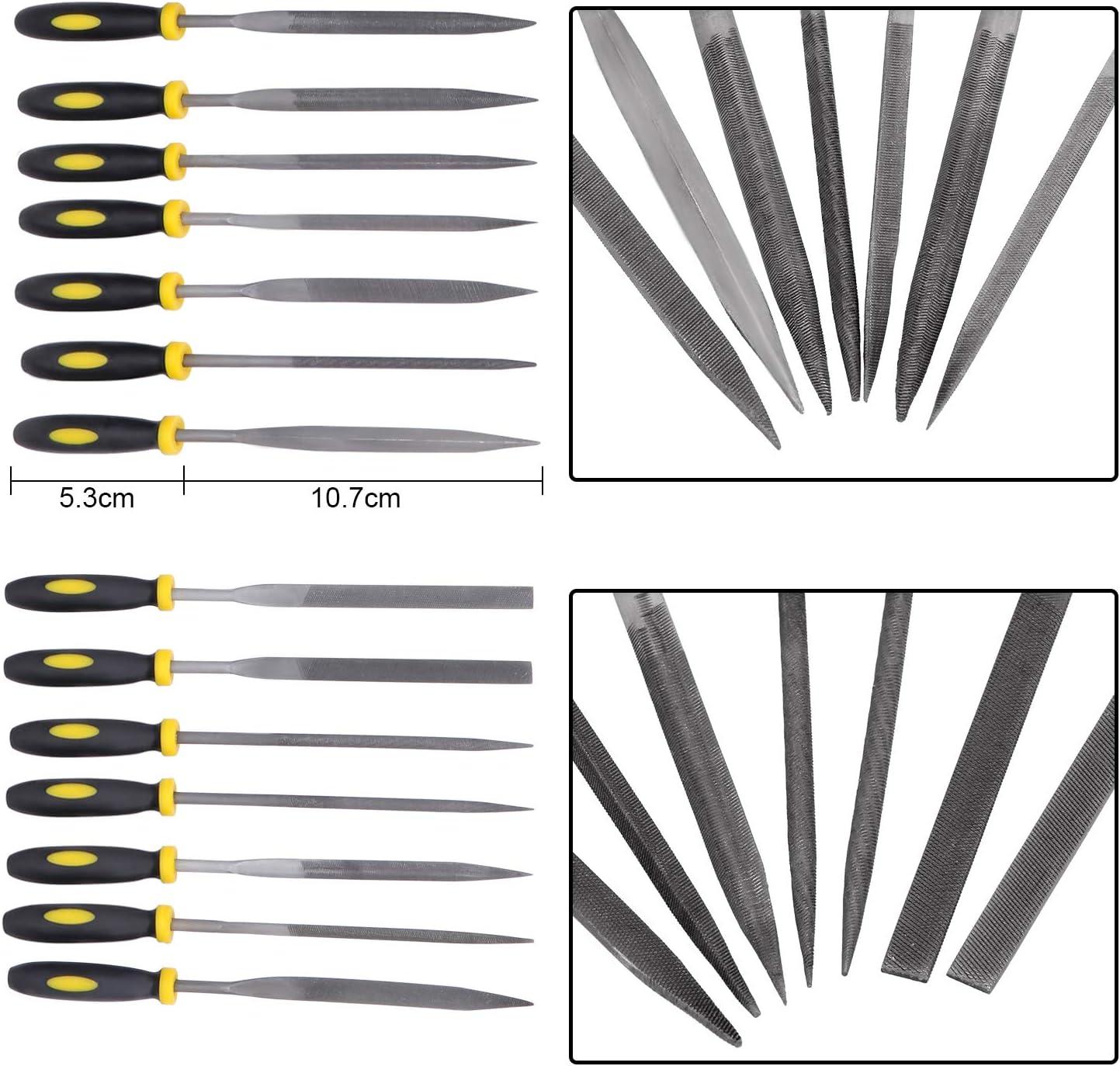cepillo de limpieza herramienta de limas de madera plana//media redonda//triangular juego de archivos de ingeniero profesional Juego de limas de metal 19 en uno limas de aguja HSEAMALL