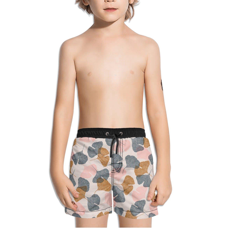 Ouxioaz Boys Swim Trunk Pink Gray Yellow Leaves Beach Board Shorts
