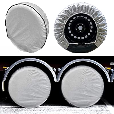 "SEAZEN Tire Covers Set of 4, 5 Layer Wheel Covers for RV Trailer Camper Truck Motorhome Auto,Waterproof Sun Rain Frost Snow Protector Aluminum Film,Fit 24"" to 29"" Tire Diameter: Automotive"
