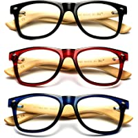 Newbee Fashion - Real Bamboo Temples Clear Frames Glasses Men Women Wooden Frames
