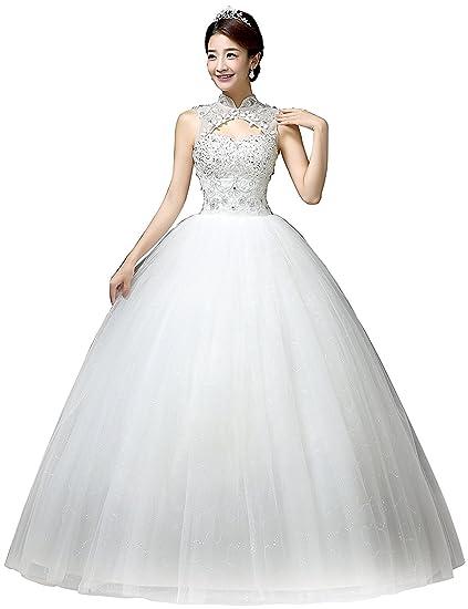 Yilian Vestido De Novia Clásico Con Perlas Y Cuello Alto