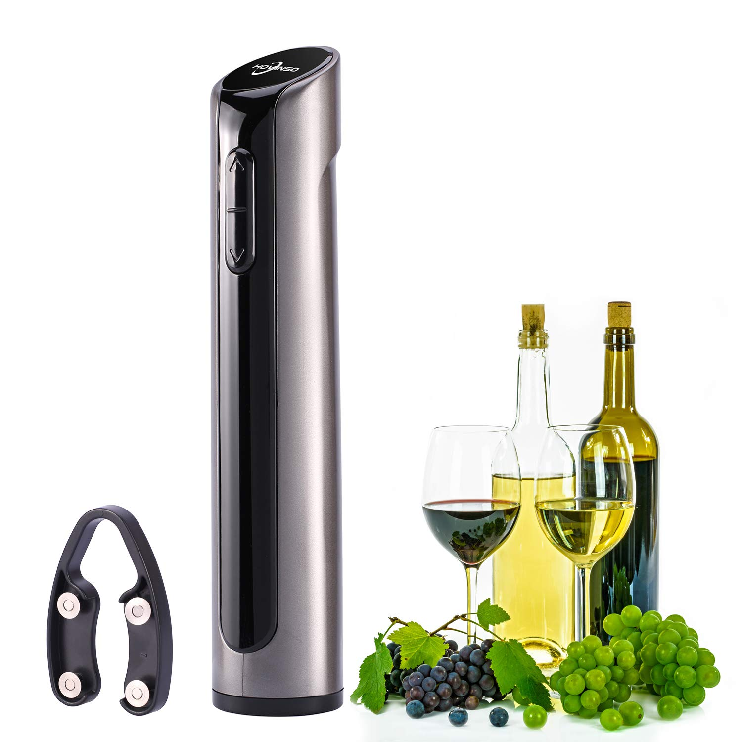 Hovinso Electric Set-Rechargeable Cordless Corkscrew Wine Opener with Removable Foil Cutter for Rubber/Plastic Corks/Large Format Bottles(Gun Metal),