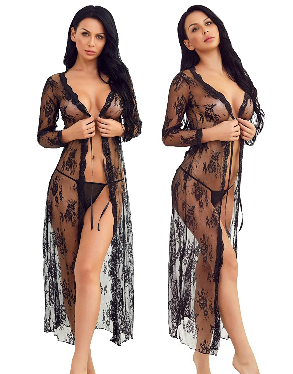 ea5b493627 Lingerie for Women Lace Kimono Robe Long Gown Mesh Chemise at Amazon  Women's Clothing store: