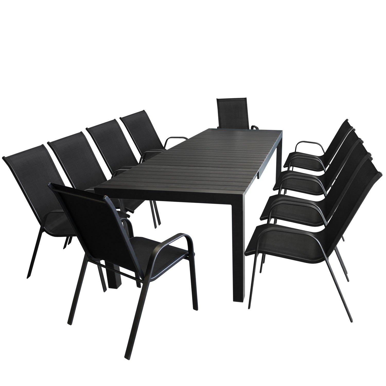 11tlg. Gartengarnitur Gartenmöbel Terrassenmöbel Sitzgarnitur Sitzgruppe - Ausziehtisch, Aluminium, Polywood Tischplatte schwarz, 224/284/344x100cm + 10x Stapelstuhl, Textilenbespannung schwarz