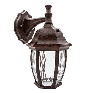 Maxxima LED Outdoor Wall Light, Aged Bronze w/Clear Water Glass, Photocell Sensor, 580 Lumens, 3000K Warm White, Dusk to Dawn Light Sensor, Brown