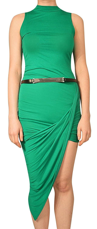 Damen Plain Rollkragenpullover mit Gürtel Sommer Kleid