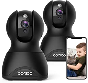 Baby Monitor with Camera and Audio,Conico 1080P Pan/Tilt Indoor Camera with Two-Way Audio,Night Vision,Motion Detection ,Pet Camera WiFi Camera Work with Alexa for Home Security(Black,2 Packs)