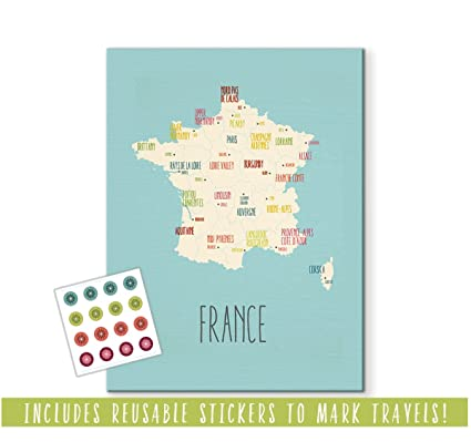 Travel Map Of France.Amazon Com Customizable France Art Print Kid S Personalized France