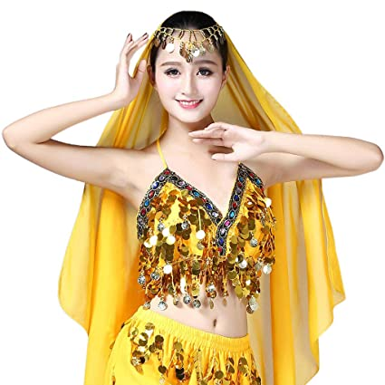 d1dee57d1a4 Lamdoo Women Sequin Halter Bra Latin Belly Dance Tassel Top Party Club  Costume Crop Top Yellow: Amazon.co.uk: Kitchen & Home