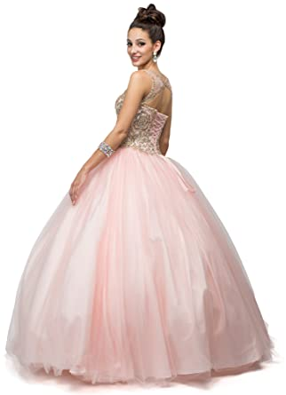 Dancing Queen Womens Gorgeous Blush Embroidered Quinceanera Dress- Ladies Wedding Evening Party Pretty Ball Gown
