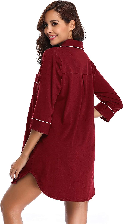 SHEKINI Camicie da Notte in Cotton con Chiusura a Bottone Pigiami Camicia Donna