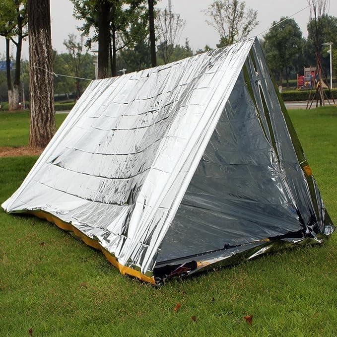 RUNACC Caseta Refugio de Emergencia Supervivencia Emergencia Tienda de campaña para Senderismo, Camping y fría Temperatura entornos, Plata: Amazon.es: ...