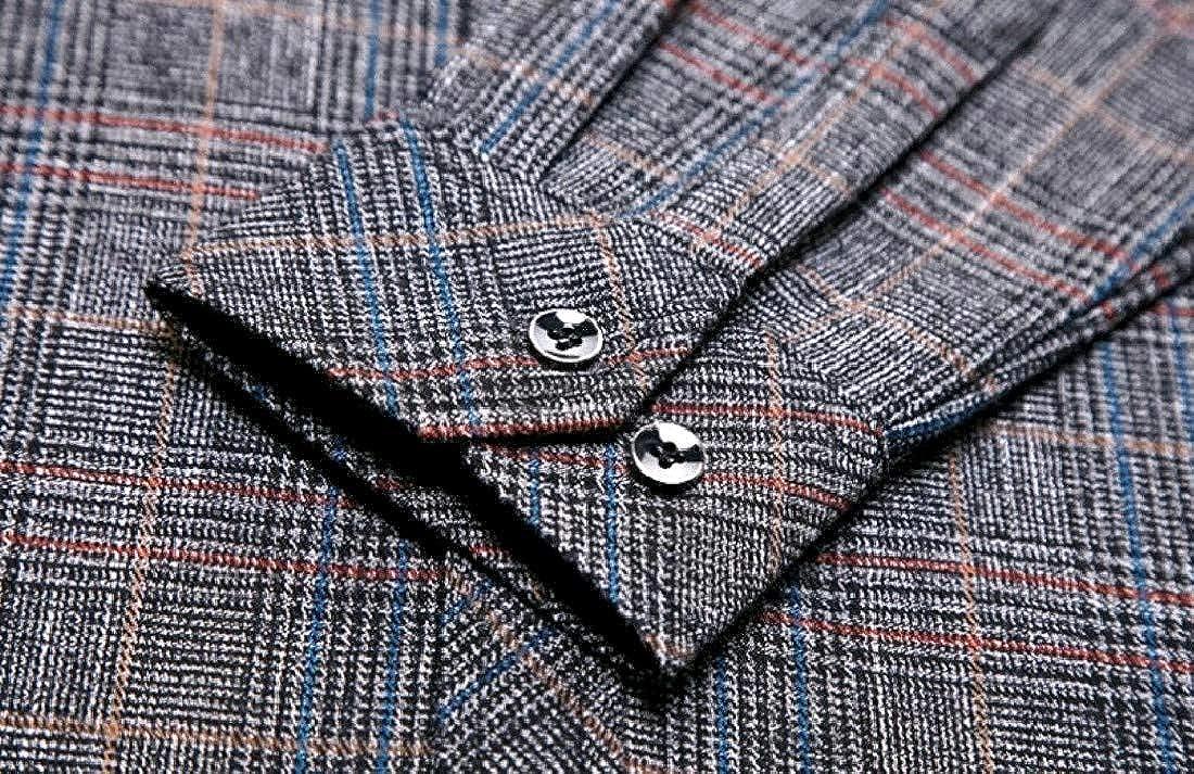 Winwinus Mens Single-Breasted Turn Down Collar Business Tshirt Shirt