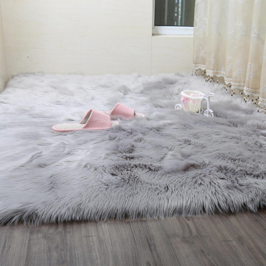 Faux Rug Soft Fluffy Rug Shaggy Rugs Faux Sheepskin Rugs Floor Carpet For Bedrooms Living Room Kids Rooms Decor ( Color : Gray , Size : 80150cm )