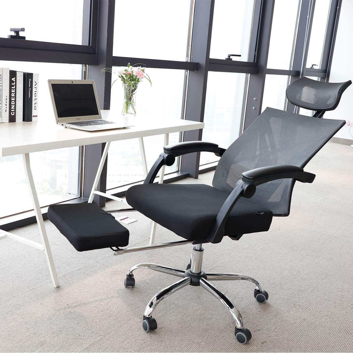 Hbada Ergonomic Office Recliner Chair - High-Back Desk Chair Racing Style with Lumbar Support - Height Adjustable Seat, Headrest- Breathable Mesh Back - Soft Foam Seat Cushion with Footrest, Black by Hbada (Image #10)