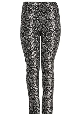b26973fef5f Yoek Women s Plus Size Trousers Animal Print Black White