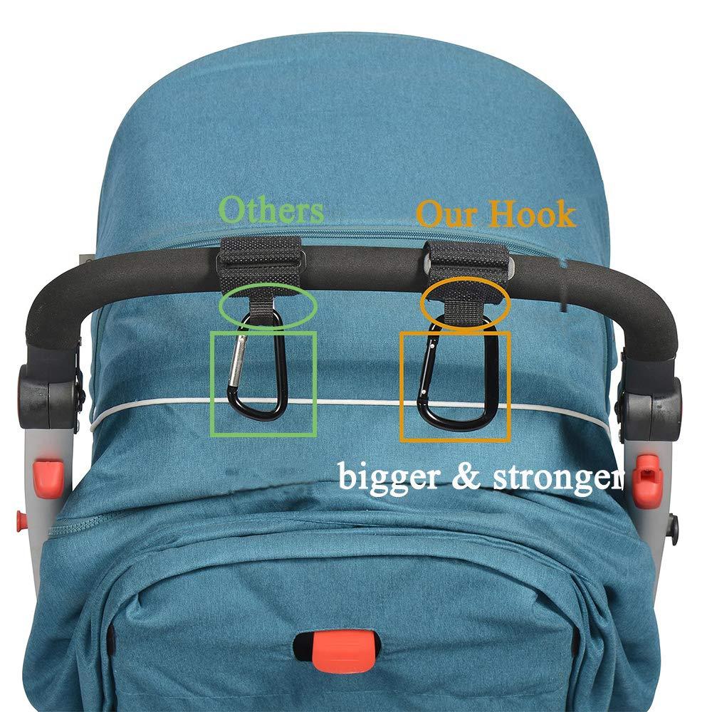 Purse Travelling and Walking- 2 Pack Hanger for Baby Diaper Bags Mom Hooks for Stroller Stroller Hooks Non-Slip Multi-Purpose Mommy Stroller Organizer Clip for Shopping