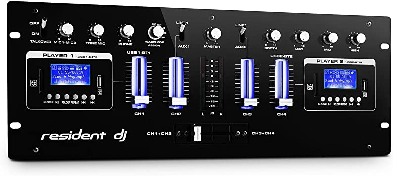resident dj DJ405USB mesa de mezclas de 4 canales (dos interfaces ...
