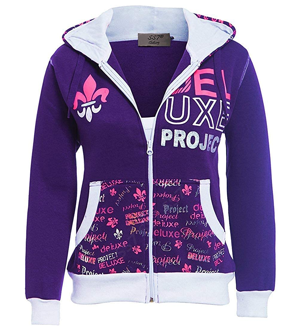 SS7 Girls Tracksuit Jersey 2 Piece Loungewear, Age 7 to 13 Years Purple