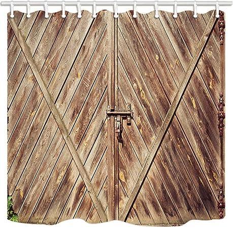 GoHEBE Western de bain Rideau vintage rustique Porte en bois ...