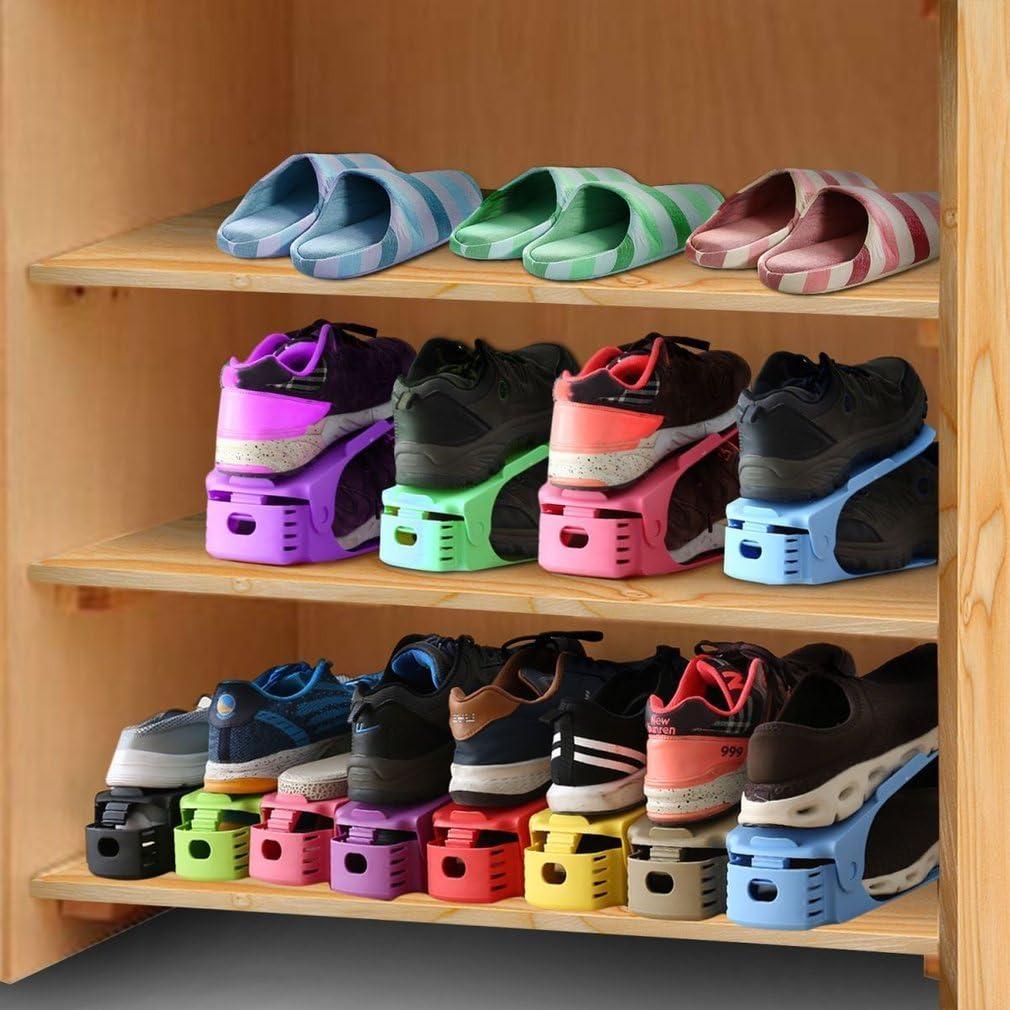 24 Pezzi Supporto Doppio Strato Organizer per Scarpe in plastica a Doppio Strato Space Saver Hifeel Portascarpe Regolabile per scarpiera in plastica