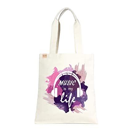 dcbdae232 Amazon.com: Me Plus Eco-Friendly Canvas Printed Fashion bags/Travel  Shoulder Tote Bag/Shopping,School and Office use (Music is my life-Multi):  Me Plus ...
