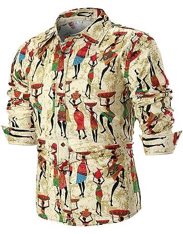 85f5038583 LuckyGirls Camisetas Hombre Manga Larga Estampado Slim Fit Streetwear  Casual Negocio Camisas Formales (Caqui