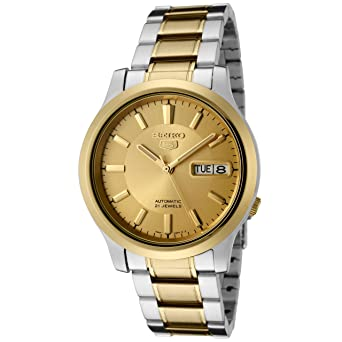 e42be873b Image Unavailable. Image not available for. Color: Seiko Men's SNK792 Seiko  5 Automatic Gold Dial Two-Tone Stainless Steel Watch