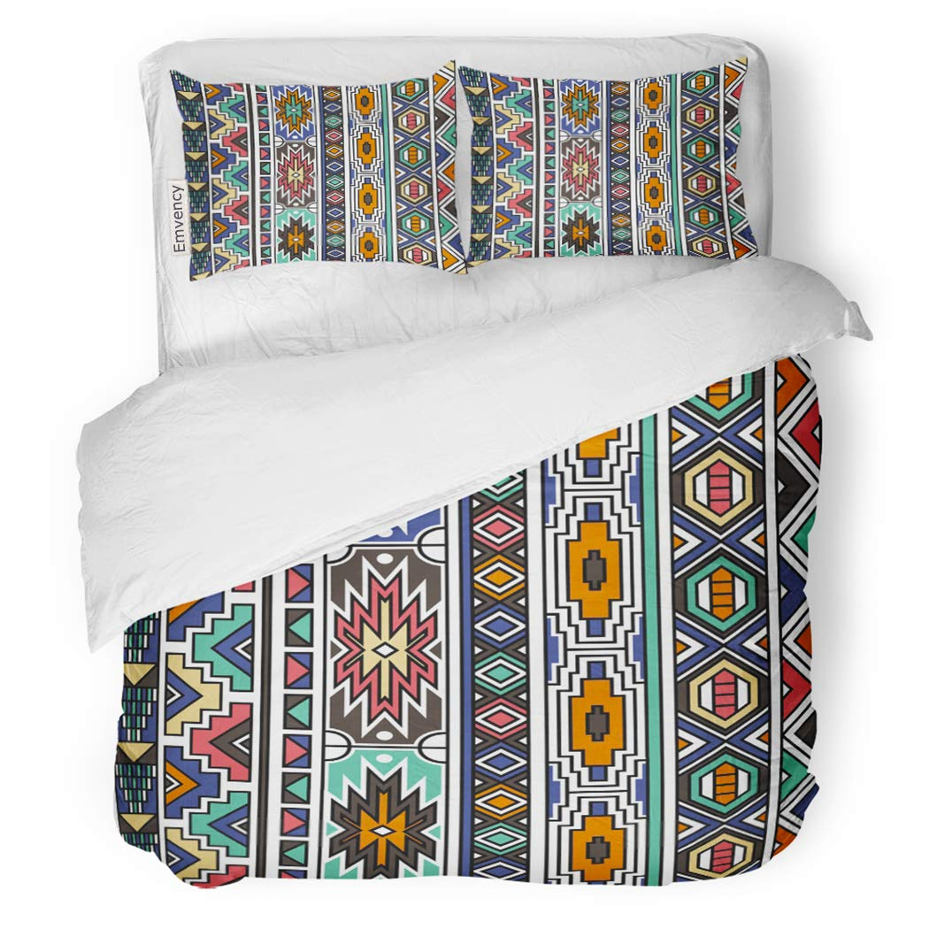 SanChic Duvet Cover Set Colorful America Retro Colors Tribal Ndebele Pattern Aztec Abstract Geometric Ethnic Navajo Design Boho Decorative Bedding Set with 2 Pillow Shams Full/Queen Size by SanChic (Image #1)