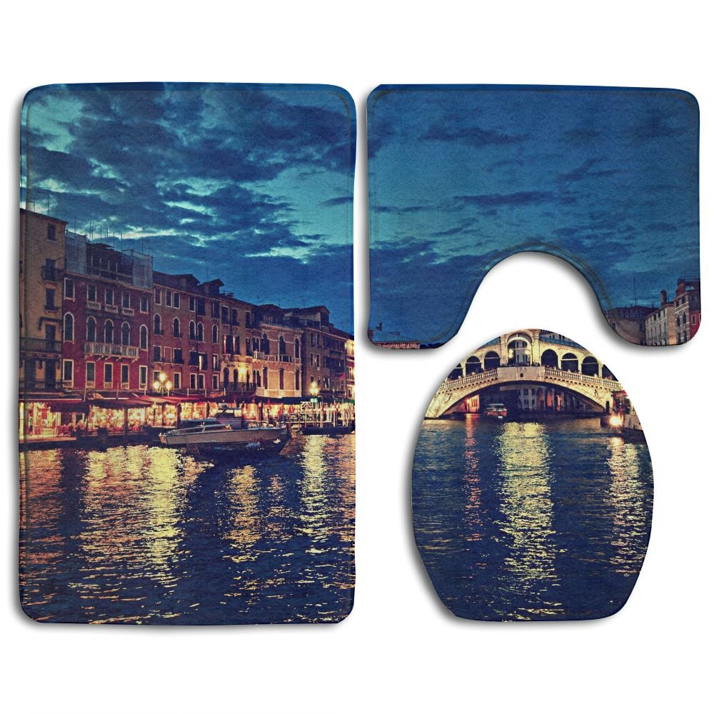 Ttrsudddsyy Rialto Bridge In Venice Italy At Night Home Set Of 3 Soft Bath Rug Non-slip Bathroom Shower Mat