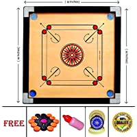 RKP Carrom Board 32 Inch High Gloss Finish with Free Coins, Striker and Powder (Large, 32 Inch)