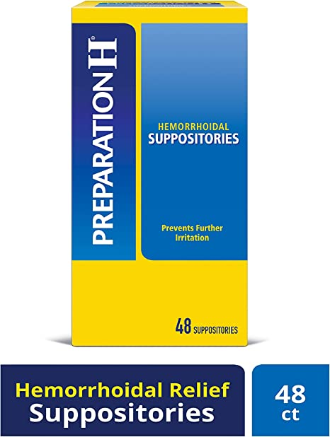 Preparation H (48 Count) Hemorrhoid Symptom Treatment Suppositories, Burning, Itching and ...