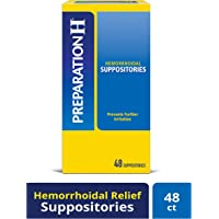 Preparation H Hemorrhoid Symptom Treatment Suppositories, Burning, Itching and Discomfort Relief (48 Count)
