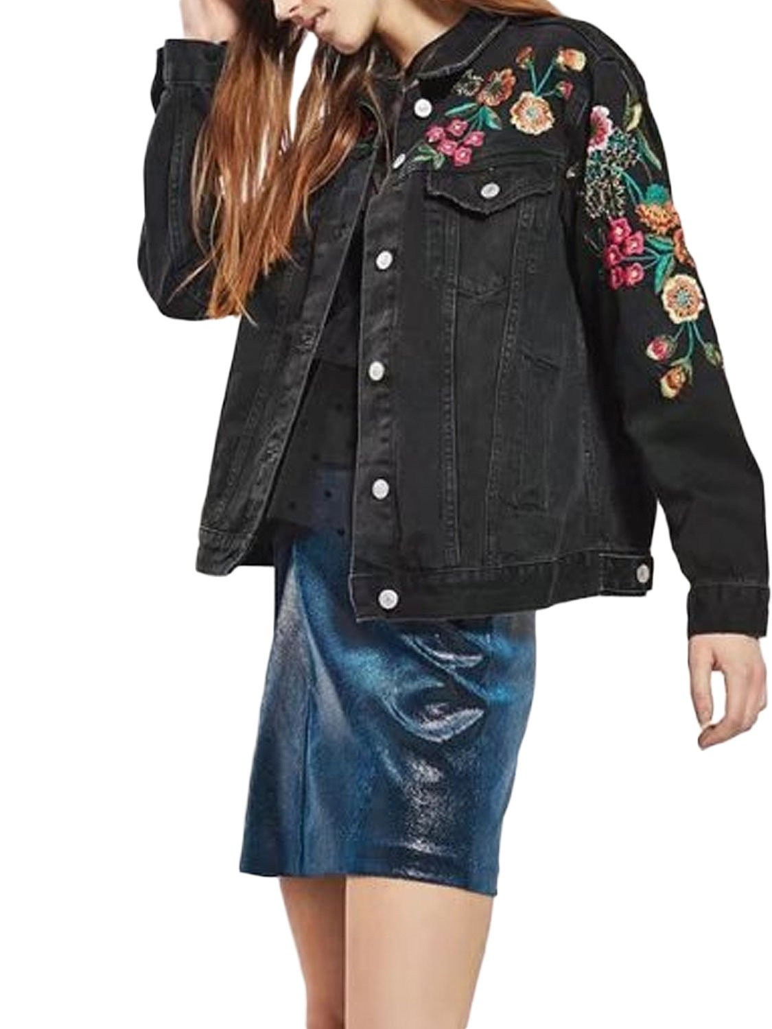 PERSUN Womens Fashion Black Floral Embroidery Denim Jacket,Large