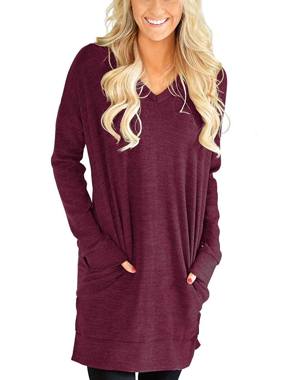 Kool Classic Womens Casual Long Sleeves Solid V-Neck Tunics Tops With Pockets Wine Red XX-Large
