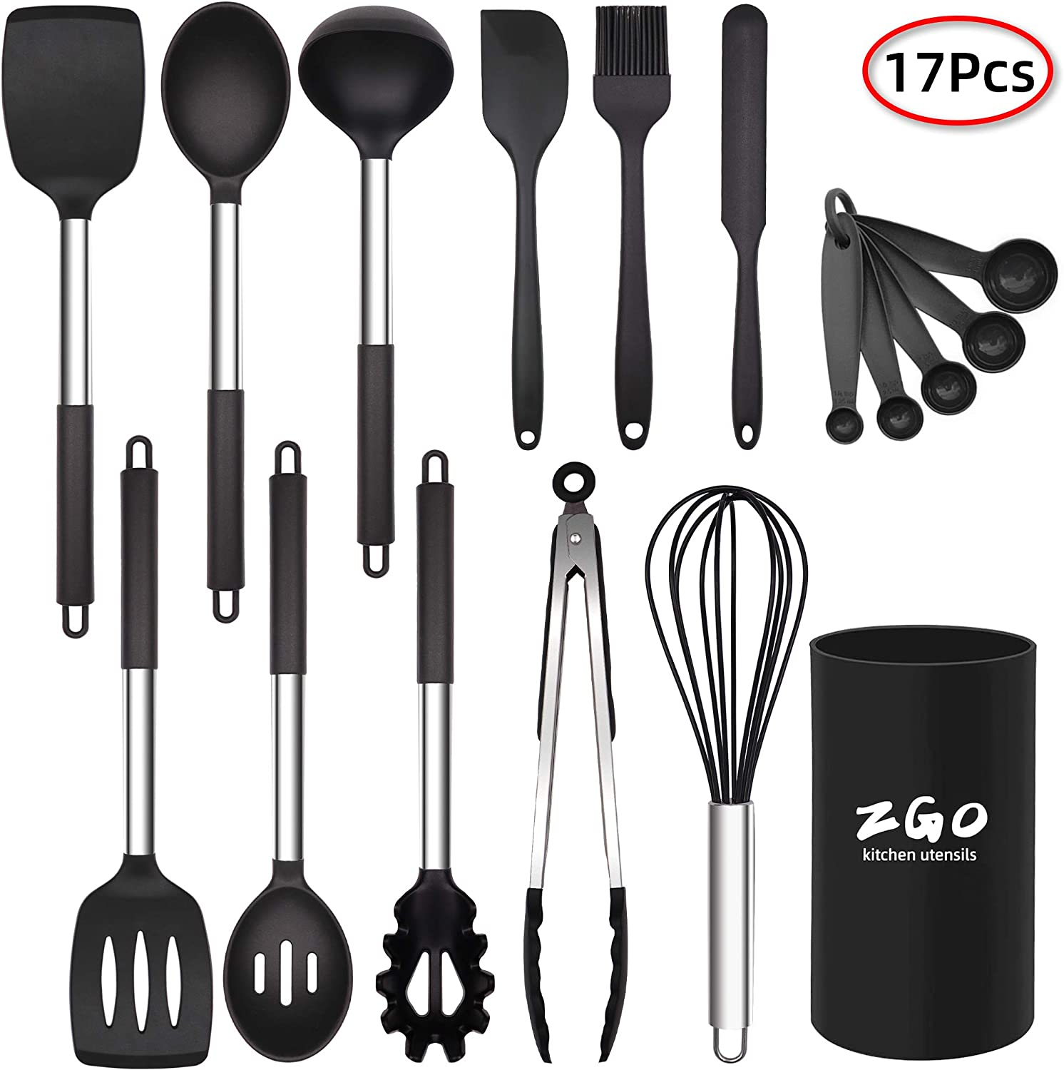 Kitchen Utensils Set,ZGO 17-Piece Silicone Cooking Utensils Set with Holder,Heat Resistant Utensils Set with Stainless Steel Handle for Nonstick Cookware,Kitchen Tools Gift,BAP Free(Black)
